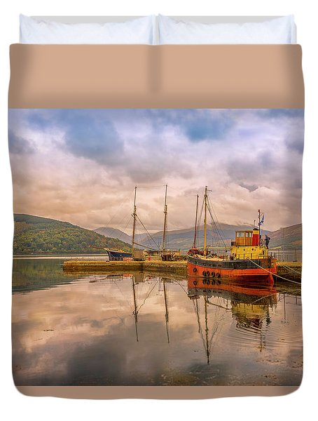 Evening At The Dock Duvet Cover by Roy McPeak