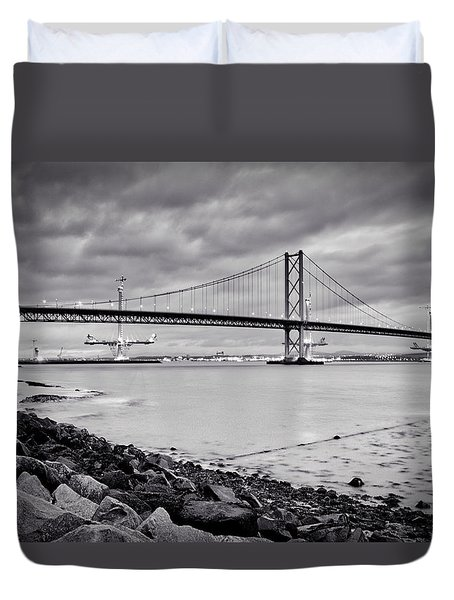 Evening At The Forth Road Bridges Duvet Cover