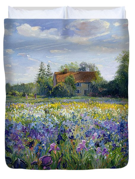 Evening At The Iris Field Duvet Cover by Timothy Easton