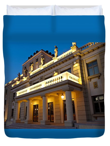 Evening At The National Theater Duvet Cover by Rae Tucker
