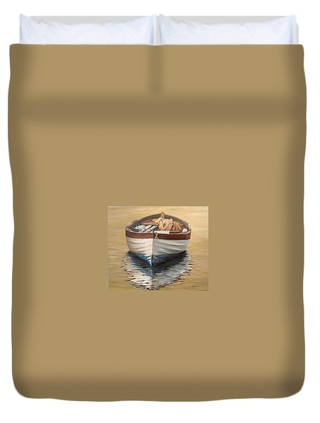 Duvet Cover featuring the painting Evening Boat by Natalia Tejera