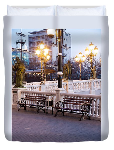 Evening By The Bridge Duvet Cover by Rae Tucker