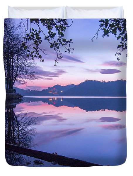 Evening By The Lake Duvet Cover
