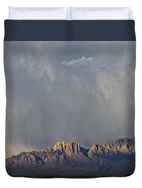 Duvet Cover featuring the photograph Evening Drama Over The Organs by Kurt Van Wagner