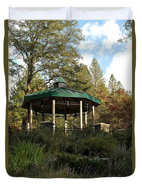 Duvet Cover featuring the photograph Evening Gazebo In Paradise by Michele Myers