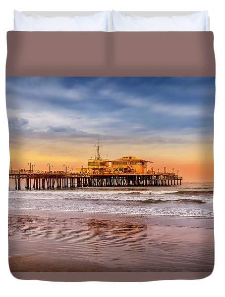 Evening Glow At The Pier Duvet Cover