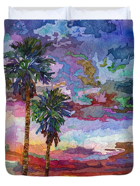 Duvet Cover featuring the painting Evening Glow by Hailey E Herrera