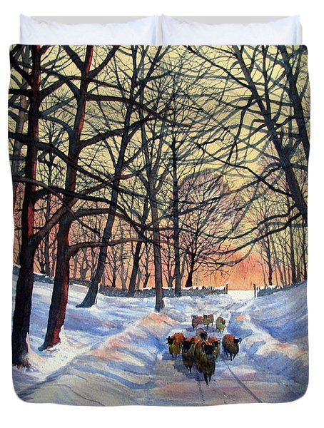 Evening Glow On A Winter Lane Duvet Cover