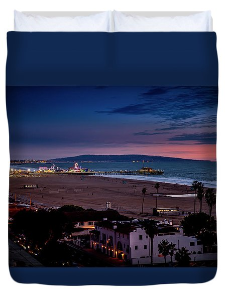 Evening Glow On The Pier Duvet Cover
