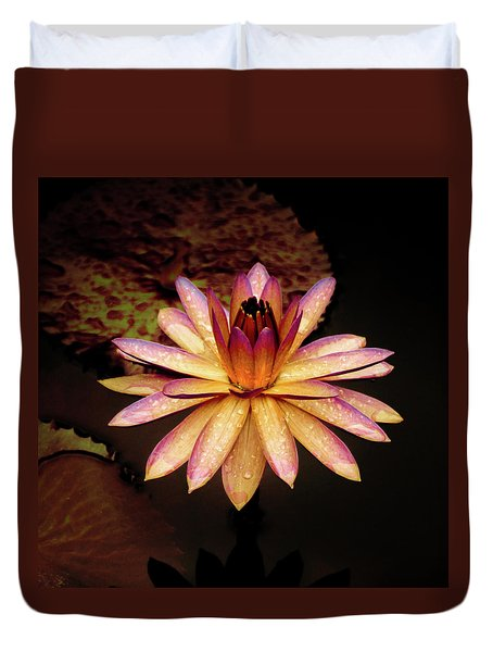 Duvet Cover featuring the photograph Evening Glow Water Lily by Julie Palencia