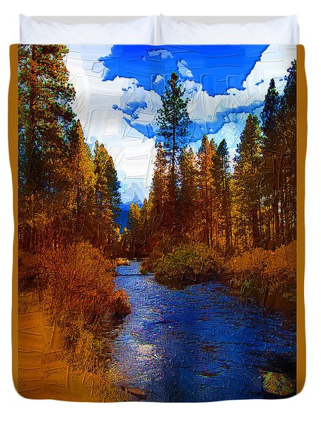 Evening Hatch On The Metolius Painting Duvet Cover