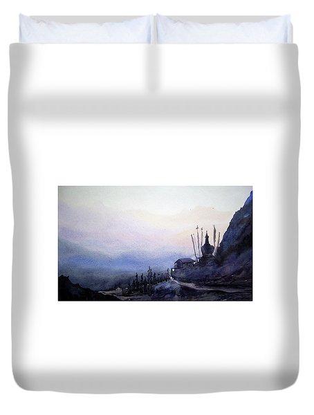 Duvet Cover featuring the painting Evening Himalaya Landscape by Samiran Sarkar