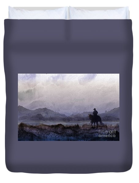 Evening Horseback Ride Duvet Cover