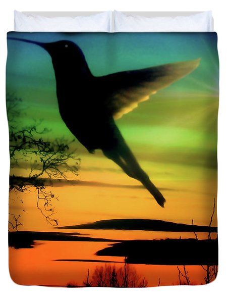 Evening Hummingbird II Duvet Cover