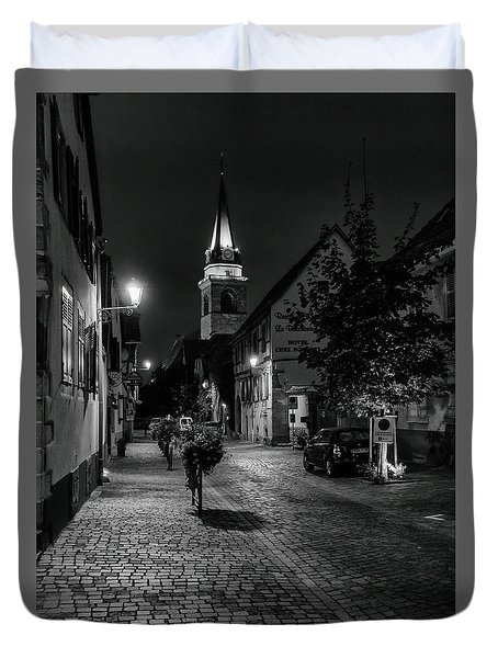 Duvet Cover featuring the photograph Evening In Bergheim by Alan Toepfer