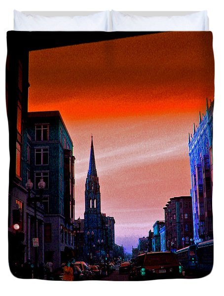 Evening In Boston Duvet Cover
