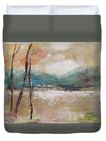 Evening In Fall Duvet Cover by Becky Kim