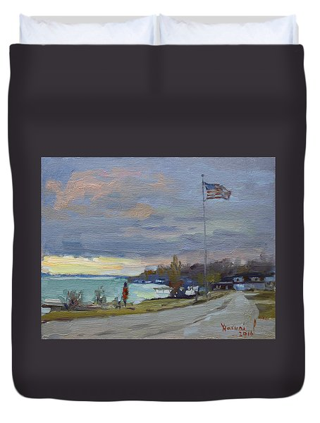 Evening In Gratwick Waterfront Park Duvet Cover