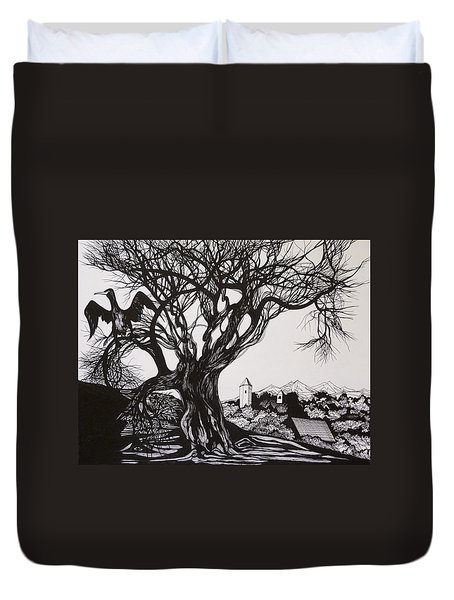 Duvet Cover featuring the drawing Evening In Midnapore by Anna  Duyunova