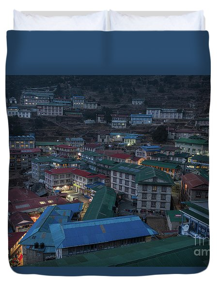 Duvet Cover featuring the photograph Evening In Namche Nepal by Mike Reid