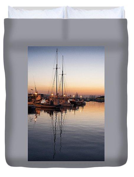 Evening In The Port Duvet Cover