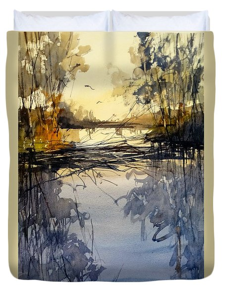 Evening In The Wetlands Duvet Cover by Sandra Strohschein