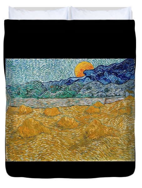 Duvet Cover featuring the painting Evening Landscape With Rising Moon by Van Gogh