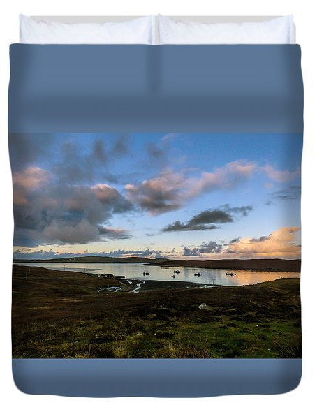 Duvet Cover featuring the photograph Evening Light In The Shetland Isles by Lynn Bolt