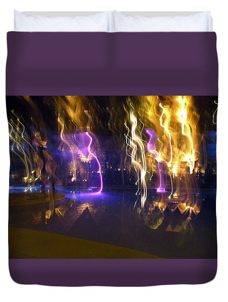 Duvet Cover featuring the photograph Evening Light Show At The Grand Mayan by Dianne Levy