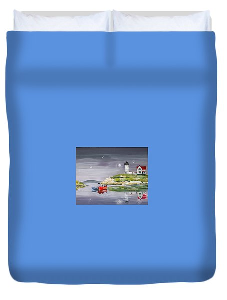 Duvet Cover featuring the painting Evening Lighthouse by Phyllis Kaltenbach