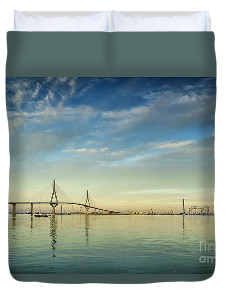 Evening Lights On The Bay Cadiz Spain Duvet Cover by Pablo Avanzini