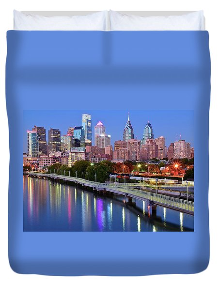 Duvet Cover featuring the photograph Evening Lights On The Delaware by Frozen in Time Fine Art Photography