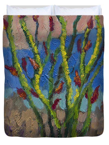 Evening Ocotillo Duvet Cover by Diane McClary