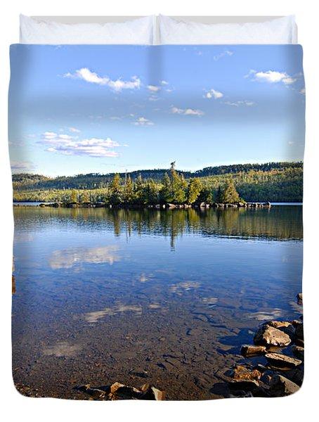 Evening On Cedar Lagoon Pine Lake Duvet Cover by Larry Ricker