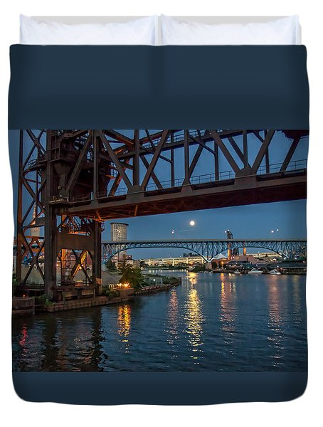 Duvet Cover featuring the photograph Evening On The Cuyahoga River by Brent Durken