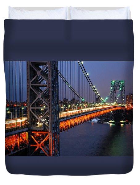 Evening On The George Washington Bridge Duvet Cover by James Kirkikis