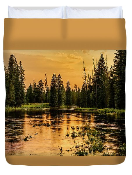 Duvet Cover featuring the photograph Evening On The Henry's Fork  by TL Mair