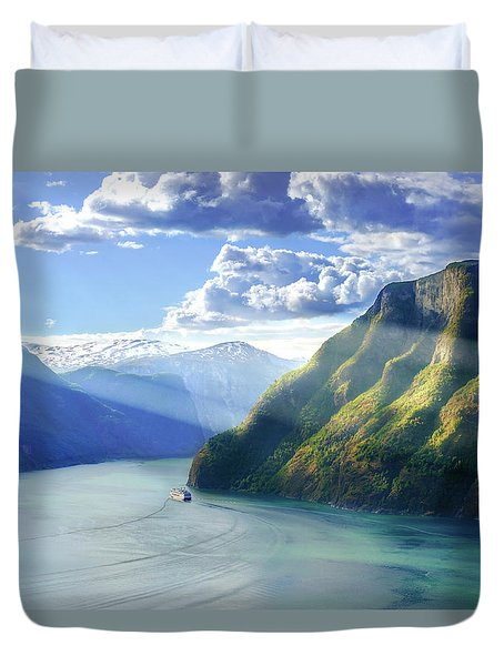 Duvet Cover featuring the photograph Evening Over Geirangerfjord by Dmytro Korol