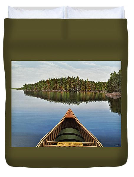 Evening Paddle  Duvet Cover by Kenneth M  Kirsch