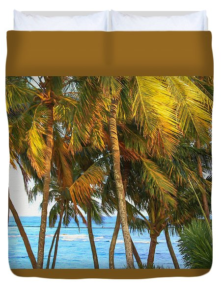 Evening Palms In Trade Winds Duvet Cover by Bonnie Follett