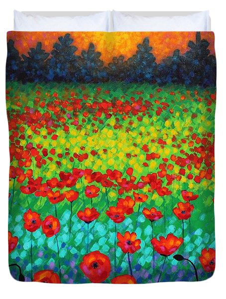Evening Poppies Duvet Cover by John  Nolan