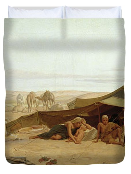 Evening Prayer In The West Duvet Cover by Frederick Goodall