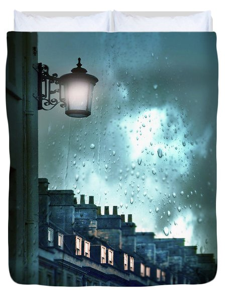 Duvet Cover featuring the photograph Evening Rainstorm In The City by Jill Battaglia