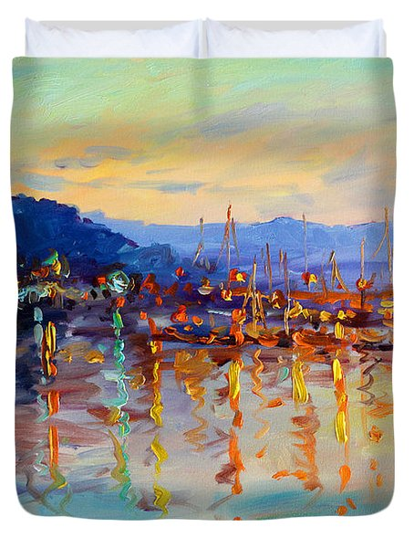 Evening Reflections In Piermont Dock Duvet Cover