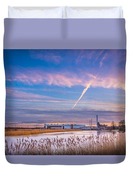 Evening River Scene Duvet Cover