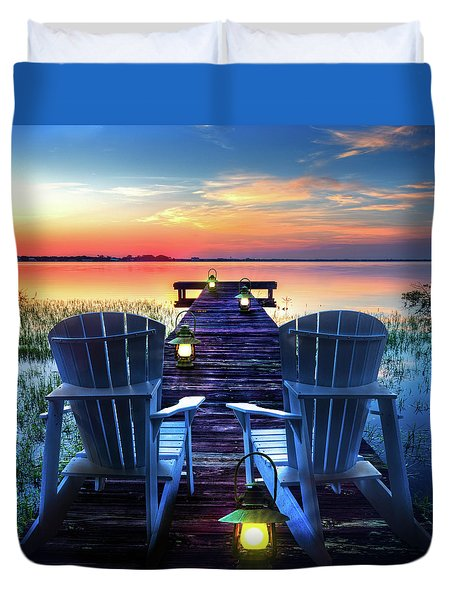 Duvet Cover featuring the photograph Evening Romance by Debra and Dave Vanderlaan