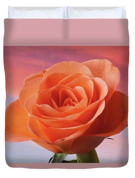 Duvet Cover featuring the photograph Evening Rose by Terence Davis