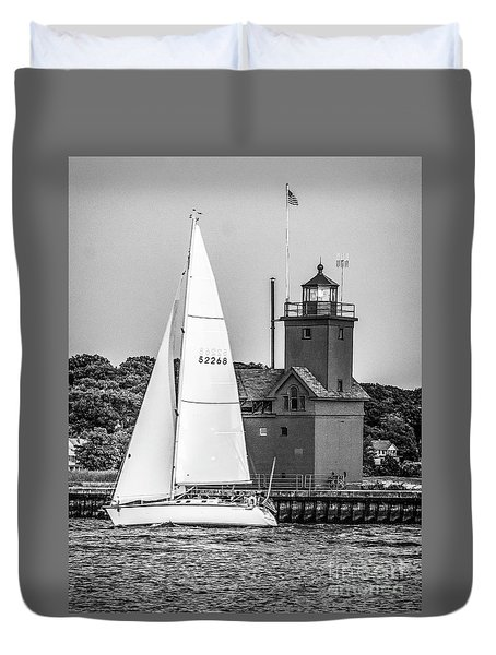 Evening Sail At Holland Light - Bw Duvet Cover