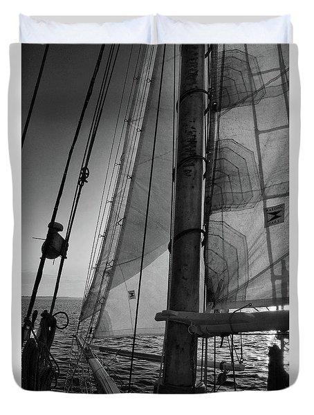 Evening Sail Bw Duvet Cover