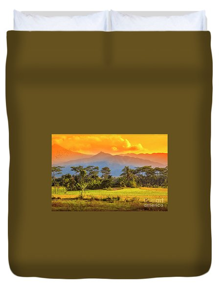Duvet Cover featuring the photograph Evening Scene by Charuhas Images